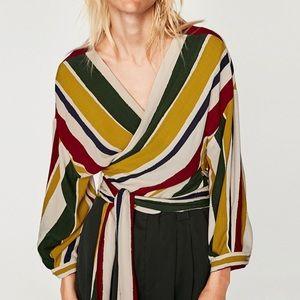 Zara, striped wrap top, size L
